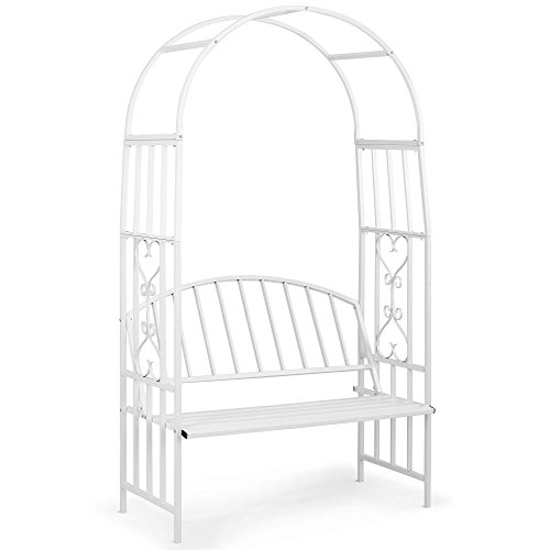 VonHaus White Metal Garden Arbor with Two Seater Bench Trellis Arch Arbour for Weddings, Gates and Plant Decoration (Cheap Garden Bench)