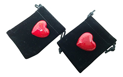 Tidal Expressions Pair of Small Red Glass Hearts in Black Velour Pouches, 1 x 1 (Red Glass Heart Ornaments)