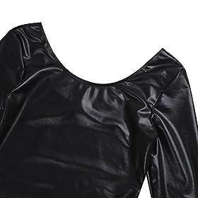 - 41WkFm 2BzV0L - YiZYiF Women's Shiny Leather Dance Gymnastics Work Out Swimsuit Leotard Bodysuit