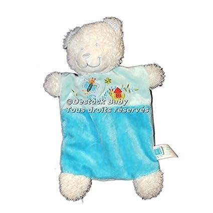 Doudou plano oso azul turquesa mariposa casa Tex Baby CMI Carrefour 9836