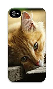 iPhone 4 Case,iPhone 4S Case,VUTTOO Stylish Young Cat Lying On Wooden Boards Hard Case For Apple iPhone 4/4S - PC 3D