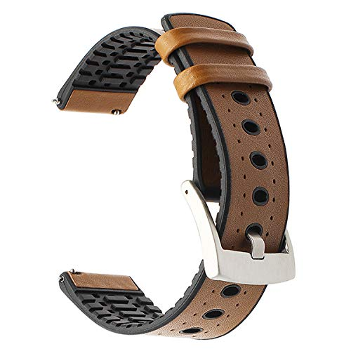 Jewh Genuine Leather+Silicone Rubber Watchband for Amazfit - Samsung Gear 2 R380 Neo R381