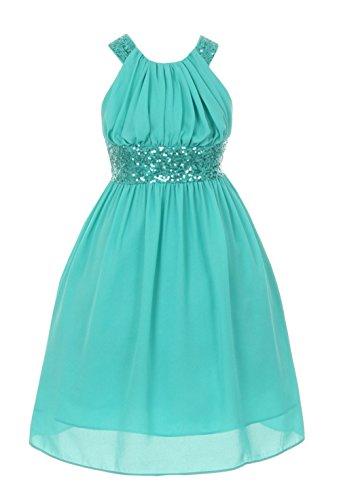 Cinderella Couture Big Girls' Sequin Dress Criss Cross Back Jade 10 5004