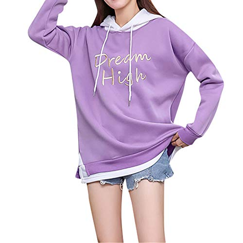 URIBAKE Women Solid Hoodie Long Sleeve Dream High Letter Printed Hooded Pullover Sweatshirt Top -