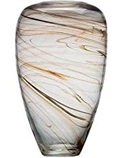 """Ballerina Hand Blown Glass Clear Vases Stripes Storage Jar for Decorative Centerpiece 13.78"""" tall (Large)"""