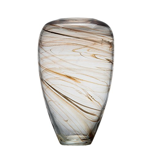 - Ballerina Hand Blown Glass Clear Vases Stripes Storage Jar for Decorative Centerpiece 13.78