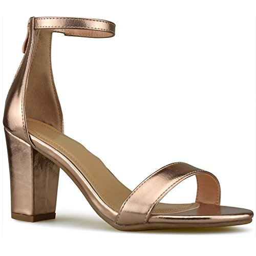 Premier Standard - Women's Strappy Chunky Block High Heel - Formal, Wedding, Party Simple Classic Pump, TPS Heels-Ha1 Rose Gold Size 7
