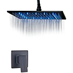 Rozin Ceiling Mounted LED 16-inch Rainfall Shower Head Single Handle Mixer Valve Oil Rubbed Bronze