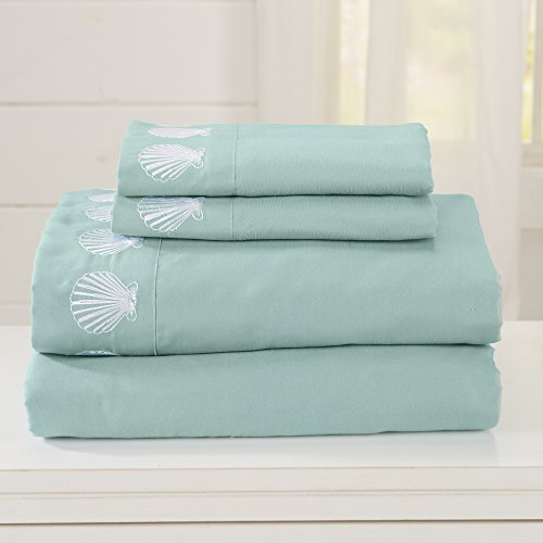 Egyptian Quality Double Brushed Microfiber Coastal Embroidered Sheet Set. Hypoallergenic, Wrinkle & Fade Resistant Luxury Bed Sheets. Seascapes Collection By Great Bay Home Brand (Queen, Harbor Blue) (Discount Bed Sheet Sets)