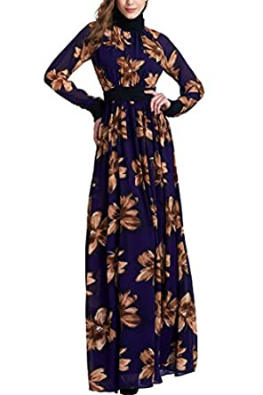 MIEGOFCE Women's Dubai Muslim Kaftan Abaya Floral Printed Turtle Neck Maxi Dress