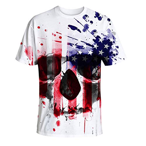 Fashion Lovers 3D Printed T-Shirt Casual Sports Independence Day Short-Sleeve Top White ()