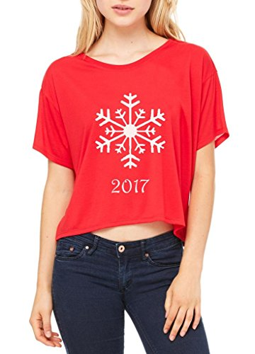 Blue Tees Christmas Snowflake 2017 Women Flowy Boxy T-Shirt X-Large Red for $<!--$20.48-->
