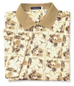 Monterey Club Mens Tonal Hawaiian Plaid Floral Pique Shirt #1570(Chamois,Large) ()