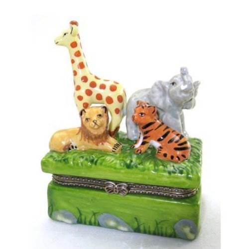 Art Gifts Animals in the Jungle Lion Tiger Elephant Giraffe Hinged Trinket Box