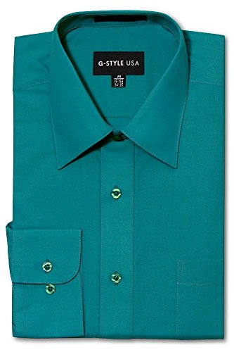 G-Style USA Men's Regular Fit Long Sleeve Solid Color Dress Shirts - Teal - Small - 30-31