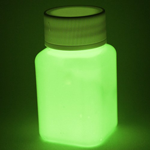 Premium Leuchtfarbe - Sehr helle Nachleuchtfarbe, Glühfarbe, Nachtleuchtfarbe, Selbstleuchtende Profi Farbe, UV Schwarzlichtfarbe (Strontium Aluminate | Ungiftig | ultra stark) (100ml, Gelb)