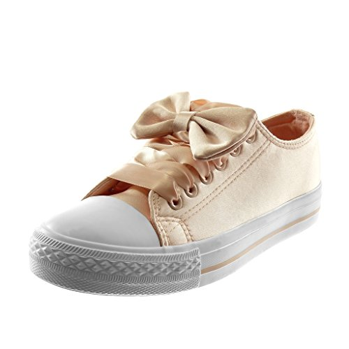 Angkorly Women's Fashion Shoes Trainers - Tennis - Sporty Chic - Bows - Satin Lace Flat Heel 2.5 cm Light Pink ySWHb86gfO