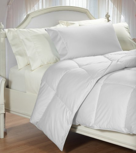 Cuddledown 400TC Colored Synthetic Comforter, Full, Level 2, White (Synthetic Level)