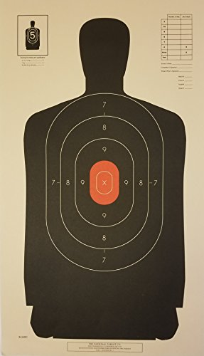 - National Target Company B-34 Targets, 25 Yard Police Pistol Silhouette With Red Center, Includes Chipboard Backer, 50 pack