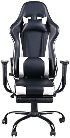 Racing Style Gaming Chair, Reclining Ergonomic Leather Chair with Footrest,in White Gaming Chair Gaming Chair White