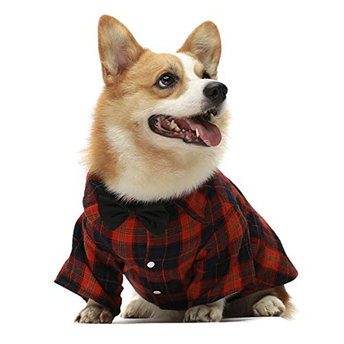 Fitwarm 100% Cotton Breathable Dog Plaid Shirts Puppy Clothes Doggie Shirts Pet Apparel Cat Clothes + Wedding Bowtie White