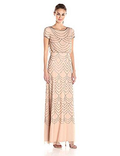 Adrianna Papell Women's Short Sleeve Blouson Beaded Gown, Blush/Gold, 6