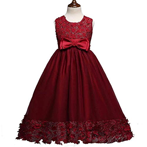 own Lace Dress for Party(Burgundy-3-4 Years) ()