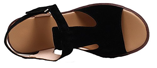 Black Women's WeiPoot Kitten Soft Material Solid Toe Open Heels Hook Sandals Loop PdqdwRf