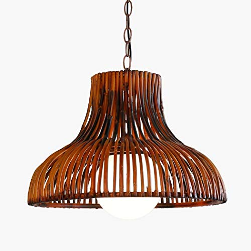 - ChuanHan Bamboo Chandelier/Pendant Lamp, Southeast Asia Creative Simple Glass Shade Hand-Woven Chandelier, Corridor Aisle Dining Room Interior Decoration Hanging Lights E27 Without Light Source