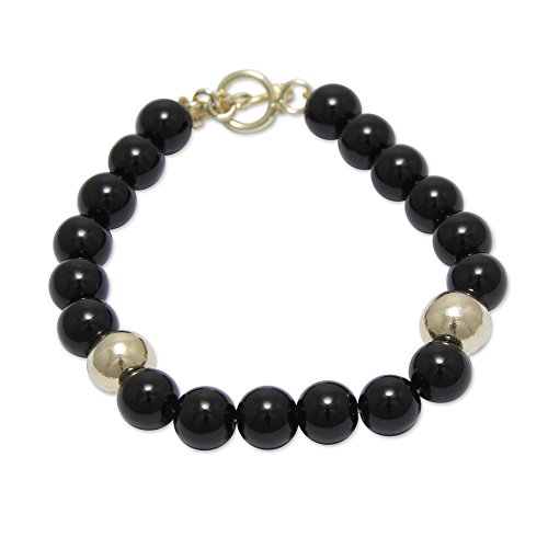 - NOVICA Obsidian .925 Yellow Gold Plated Silver Beaded Bracelet, 7