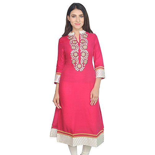 Chichi Indian Women Kurta Kurti 3/4 Sleeve Small Size Plain with Jaipuri Embroidered Straight Red-Beige Top by CHI