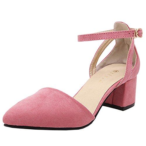 Azbro Mujer Zapato de Media Tacón Bomba con Hebilla Tobillo Puntera Punta Rosa