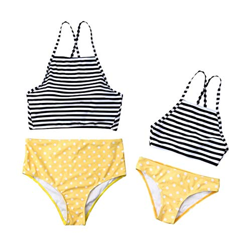 Mommy&Me Swimsuits Two Piece Stripe Matching Family Swimwear Bikini Set for Mom and Daughter - Girls Yellow 6-7 Years