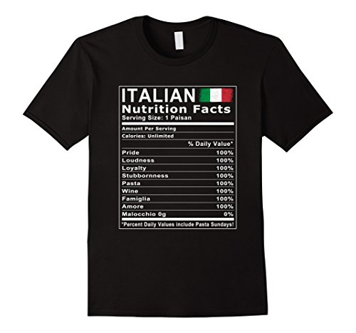 Mens Italian Nutrition Facts T Shirt 2XL - Italian 100% T-shirts