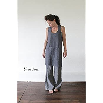 Linen apron in Ardoise, Pinafore, Apron dress in natural linen, Eco friendly