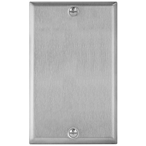 "ENERLITES Blank Device Metal Wall Plate, Corrosive Resistant, Size 1-Gang 4.50"" x 2.76"", 7701, 430 Stainless Steel, UL Listed, Silver"