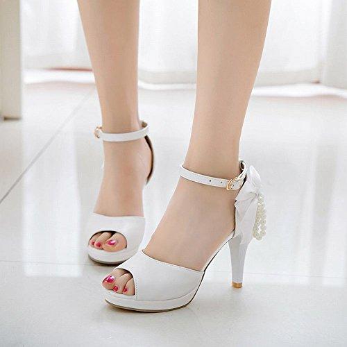 Mee Shoes Women's Sweet Bow Upper Buckle Sandals White aJ3GkO