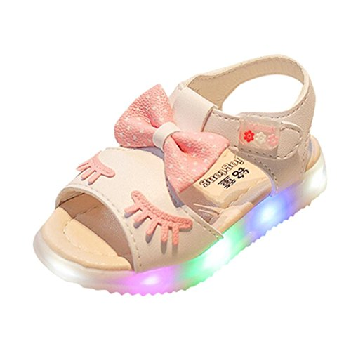 WOCACHI Baby Girls Shoes Toddler Baby Bow Knot Light Sandals Smile Eyes Luminous Outdoor Back to School Clearacne Sale Deal 2019 Spring Under 5 Deals