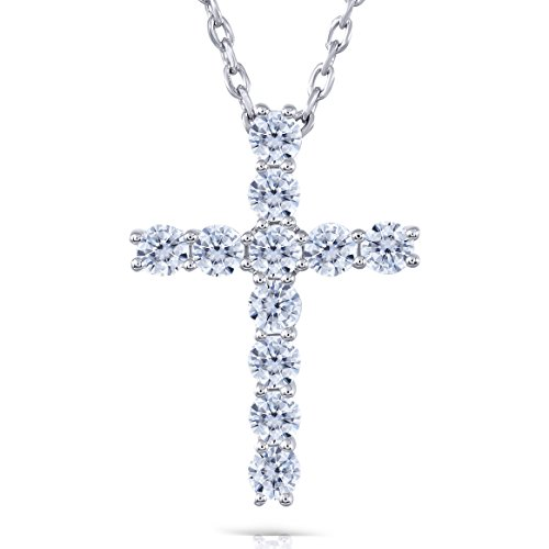 (DovEggs Platinum Plated Silver 1.1 CTW 3mm H-I Color Hear Arrows Cut Created Moissanite Cross Pendant Necklace for Women with COMPLIMENTARY 18