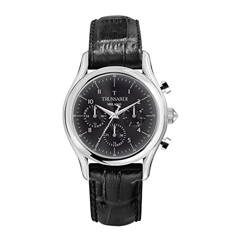TRUSSARDI Men's T-Light Stainless Steel Analog-Quartz Leather Strap, Black, 16 Casual Watch (Model: R2451127007) ()