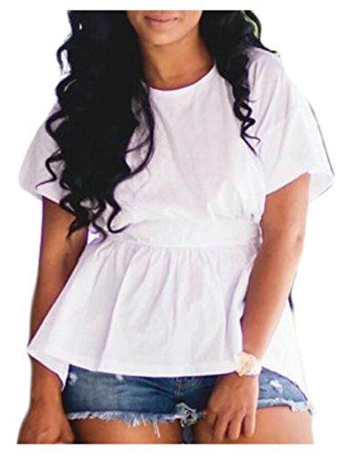 HTOOHTOOH Women's Casual Back Open Tie Short Sleeve Irregular Hem T Shirts White (Short Sleeve Open Tie)