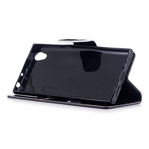 Trumpshop Smartphone Carcasa Funda Protección para Sony Xperia L1 + Girasol + PU Cuero Caja Protector Billetera con Cierre magnético Choque Absorción Dont Touch My Phone (sonrisa)