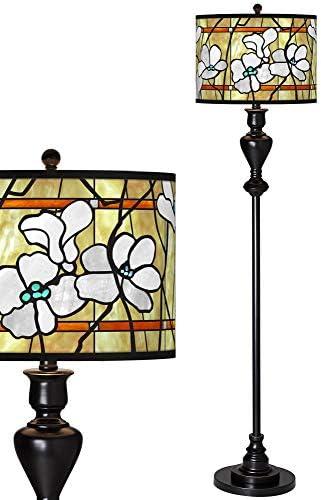 Magnolia Mosaic Giclee Glow Black Bronze Floor Lamp