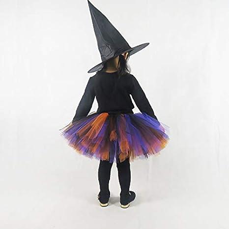 Kiniris Kost/üm Halloween Hexe Tutu Kind M/ädchen//Damen Rock T/üll Bunte Fliege Kost/üm Mit Kapuze Schwarz Cosplay Schwarz, 2-3 Jahre