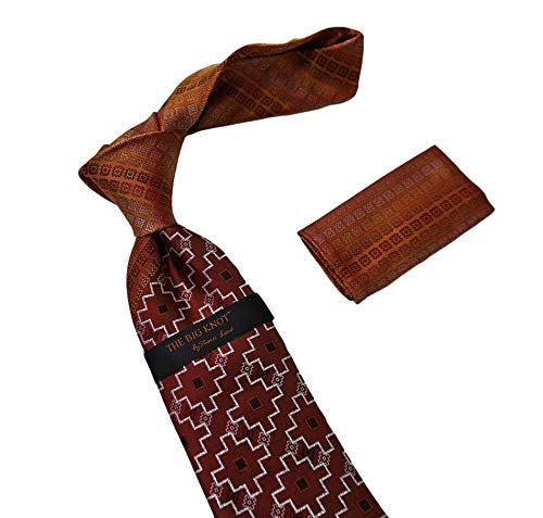 (Steven Land 100% Silk Tie & Hanky, The Big knot, BW1802 Orange)