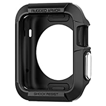 Apple Watch Series 2 Case, Apple Watch Case, Spigen Rugged Armor - Resilient Shock Absorption and 2 Screen Protectors Included for 42mm Apple Watch Series 2 / 1 / Original - Black