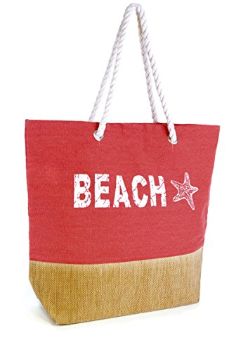 Womens Summer Beach Print Canvas Design Beach-Pool-Swim-Tote-Shopping Large Bag Red
