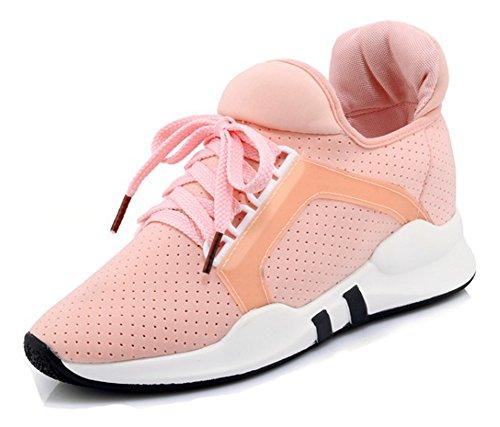 Aisun Womens Casual Sneakers - Scarpe Stringate Da Running A Punta Rotonda - Mid Mesh Rosa Traspirante