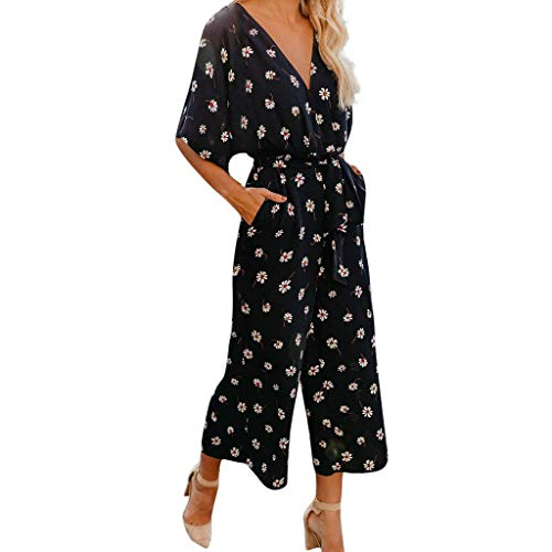 (Fashion Youth Girls Floral Printed Jumpsuit,Women's Batwing Sleeve V-Neck Beach Playsuit with Long Wide Leg Trousers Black 2X)