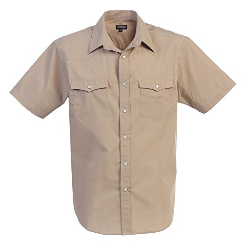 Western Solid Short Sleeve Shirt With Pearl Snaps, Khaki, X Large (Short Sleeve Pearl Snap)